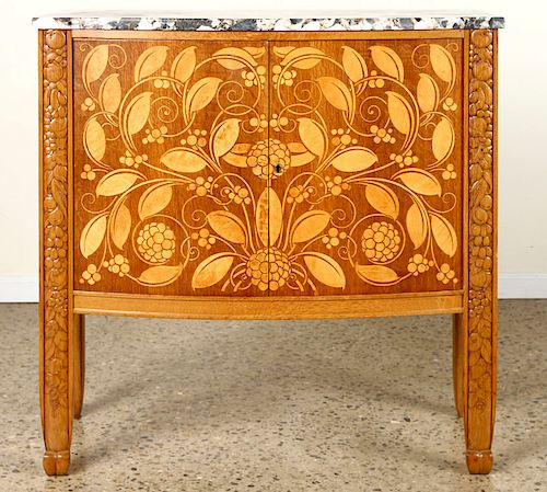 FRENCH OAK MARBLE TOP SERVER BY MICHEL DUFET 1920