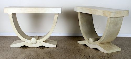 PAIR OF ART DECO STYLE PARCHMENT CONSOLE TABLES
