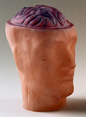 AN ART GLASS PHRENOLOGY HEAD