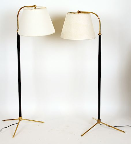PAIR JACQUES ADNET STYLE FLOOR LAMPS CIRCA 1960