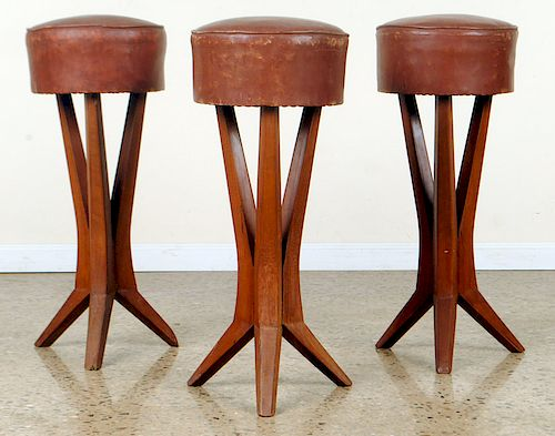 SET 3 FRENCH BAR STOOLS MANNER PIERRE JEANNERET