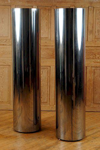 PAIR CIRCULAR CHROME FLOOR LAMPS LABELED C.1980