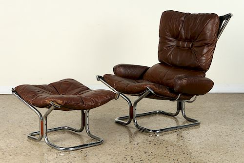 BROWN LEATHER LOUNGE CHAIR & OTTOMAN BY WESTNOFA
