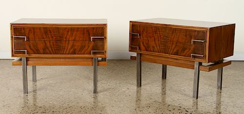 PAIR MID CENTURY MODERN BURL WOOD SIDE TABLES