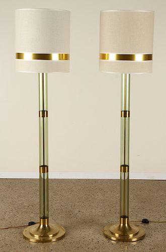 PAIR ITALIAN LUCITE AND BRASS FLOOR LAMPS C.1960
