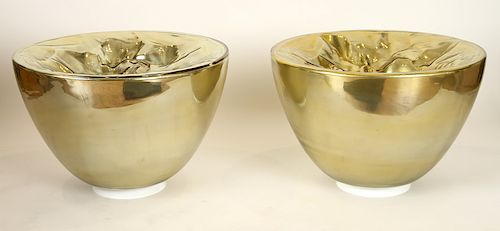 PR ITALIAN BOWL FORM GOLD GLASS TABLE/FLOOR LAMPS