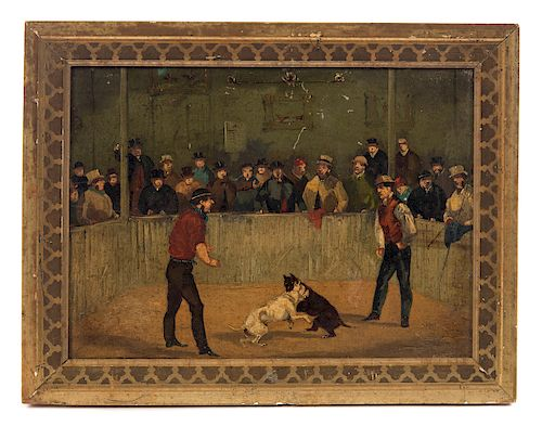 Rare 1800's Oil Painting Pit Bull Dog Fighting Arena
