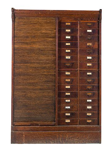 Quartersawn Oak Globe Wernicke Roll Front Filing Cabinet
