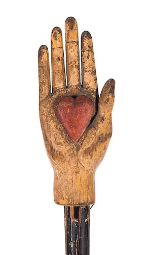 Odd Fellows Folk Art Painted and Carved Heart in the Hand Staff