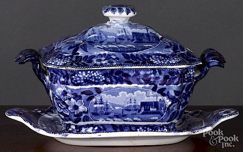 Historical Blue Staffordshire sauce tureen