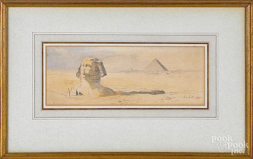 Edward Lear, pencil, brown ink and watercolor