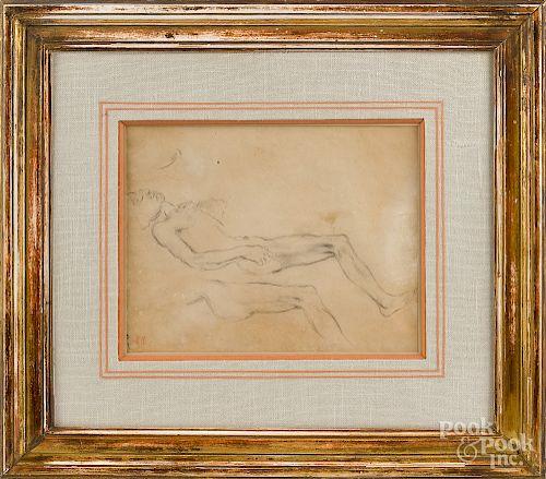 Eugene Delacroix, reclining male nude