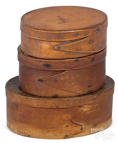 Three New England band boxes, 19th c.