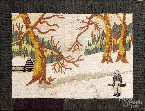 New England hooked rug of a winter landscape
