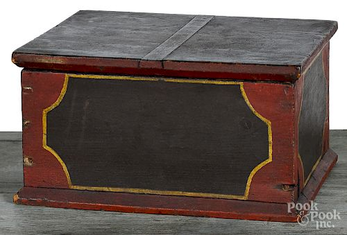 New England painted pine document box, 19th c.