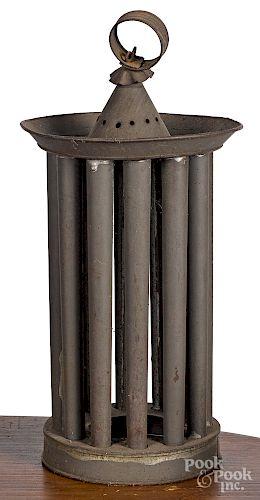 Circular tin hanging candlemold, 19th c.