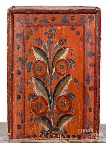 Scandinavian painted pine slide lid box, 19th c.