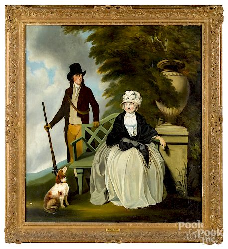 Oil on canvas of a husband, wife and dog, ca. 183