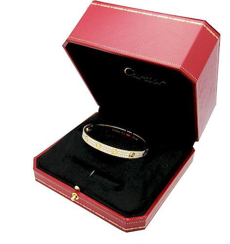 Cartier LOVE DIAMOND PAVED YELLOW GOLD BRACELET