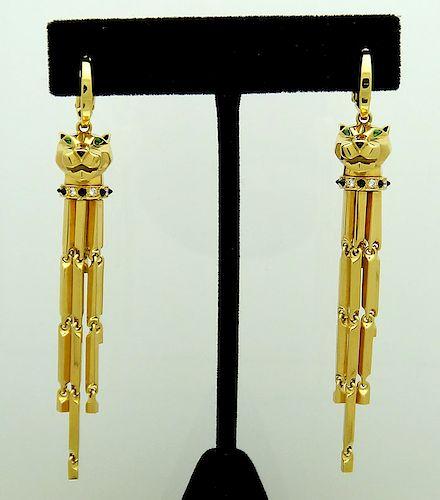 Cartier Panthere 18K Diamond Tsavorite Onyx  Dangle