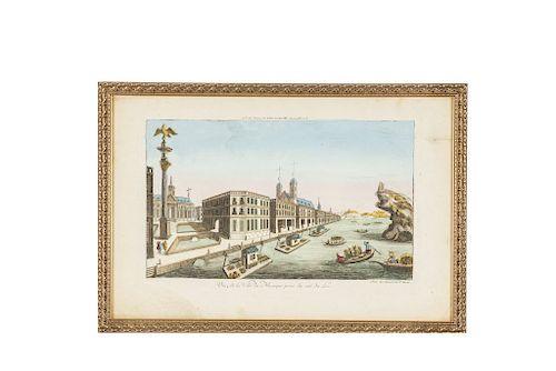 Daumont. Vue de la Ville du Mexique Prise du Coté du Lac. Paris, ca. 1770.  Grabado coloreado, 25.5 x 40.5 cm. Enmarcado.