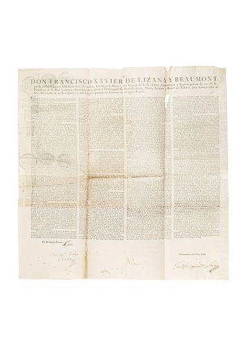 Lizana y Beaumont, Fracisco Xavier de. Bando de 1809 con la firma de Miguel Hidalgo y Costilla. México a 25 de Agosto de 1809.