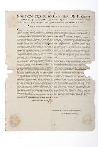 Lizana y Beaumont, Francisco Xavier. Edicto Contra la Causa de Miguel Hidalgo. México, 8 de octubre de 1810.