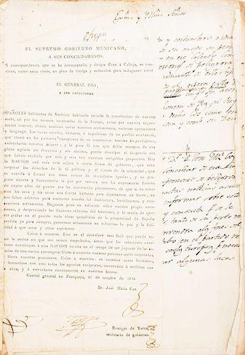 Conjunto de documentos manuscritos e impresos relacionados con José María Cos, uno con la rúbrica de José María Morelos. 1817.