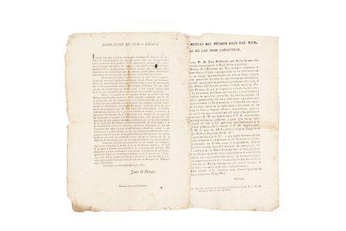 O'Donojú, Juan / Iturbide, Agustín de. Proclama / Comunicación. Tacubaya setiembre 17 y 21 de 1821. Piezas: 2.