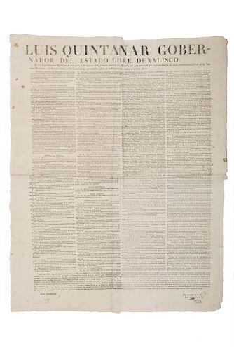 Bando sobre el Acta Constitutiva de la Federación Mexicana. Guadalajara, febrero 9 de 1824.