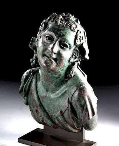 Superb Roman Bronze Bust of Young Bacchus, XRF Tested
