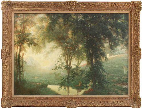 """Louis Loeb """"The Dawn - Landscape"""" Oil on Canvas"""