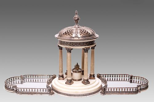 A Debain French Silver & Marble Centerpiece 19th C