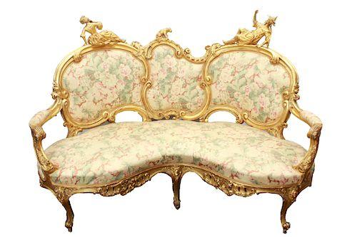 Ornate French Rococo Revival Settee/Canape