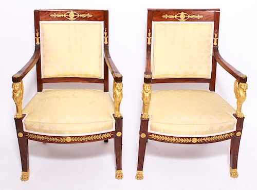 French Jacob Frères Bronze Mounted Armchairs 1800
