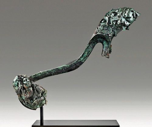 Hellenistic Bronze Fulcrum of Panther & Dionysos