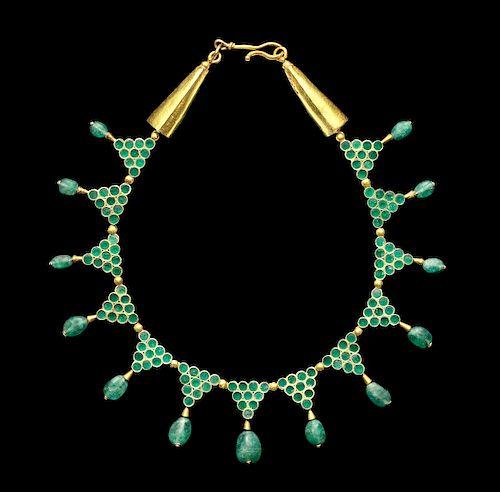 Byzantine 20K+ Gold & Emerald Necklace - ex Christie's