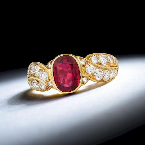 Van Cleef & Arpels Fine Burmese Unheated Ruby Ring