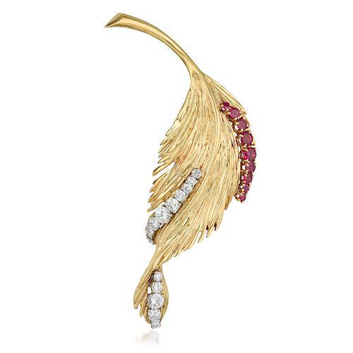 Van Cleef & Arpels Ruby and Diamond Leaf Brooch