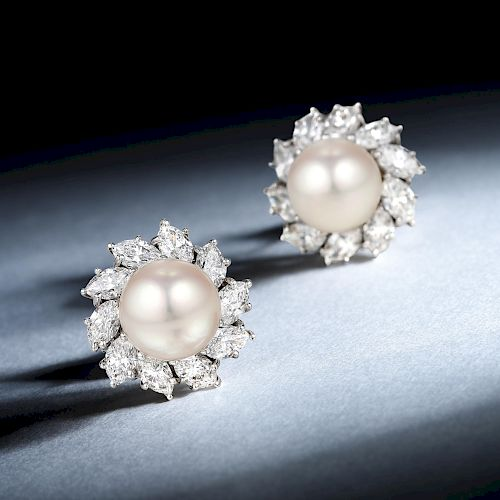 Harry Winston Very Fine Cultured Pearl and Diamond Earrings
