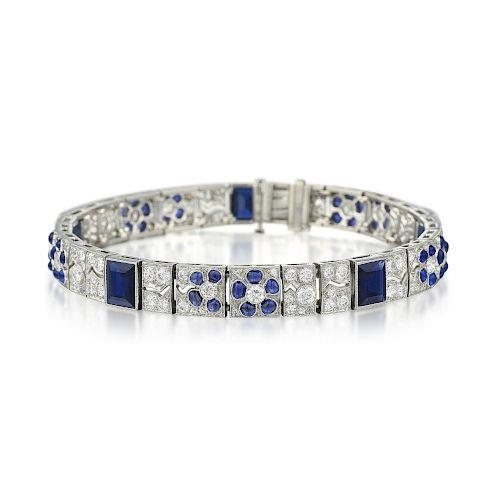 JE Caldwell Diamond and Sapphire Floral Motif Bracelet