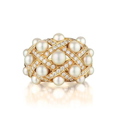 Chanel Matelasse Cultured Pearl and Diamond Ring
