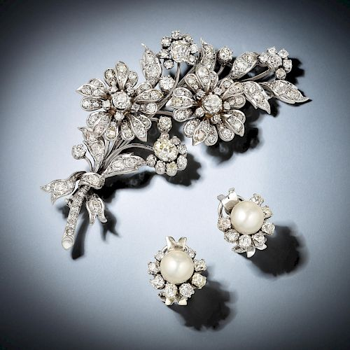 Antique Important Diamond Brooch/Earrings, French