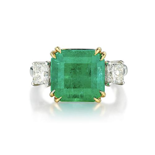 A 6.03-Carat Colombian Emerald and Diamond Ring