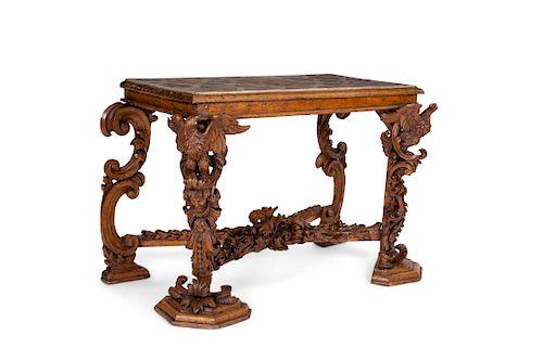An Italian Baroque style walnut side table