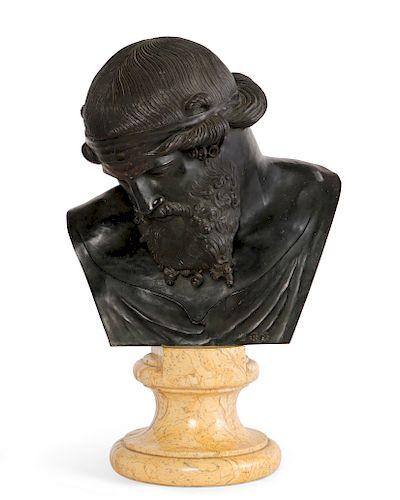 Italian bronze bust of Plato Sabatino de Angelis