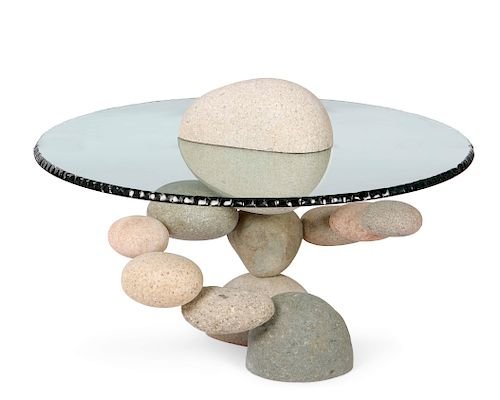Woods Davy, stones & glass table