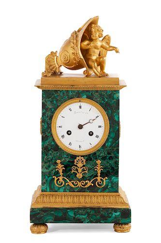 An Empire malachite mantel clock, Thomire