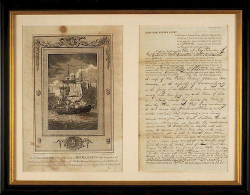 EYEWITNESS ACCOUNT OF JOHN PAUL JONES AND THE BATTLE OF FLAMBOROUGH HEAD, 1779   THOMAS DE RUSSY, DS, partially-printed, folio sheet...