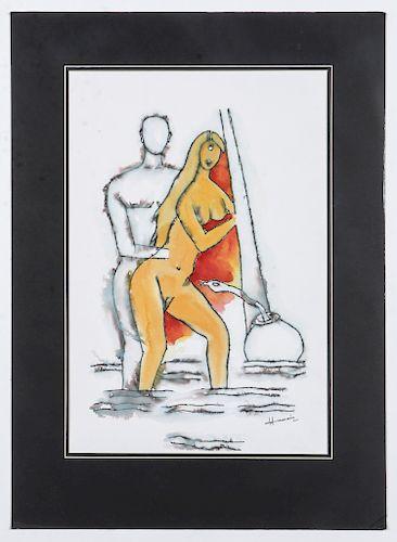 M.F. Husain (Indian, 1913-2011) Watercolor Painting